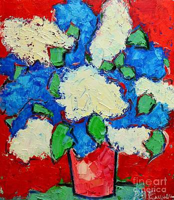 Blue And Red Painting - Blue And White Lilac Bouquet by Ana Maria Edulescu