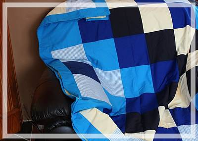 Blue And White Patchwork Quilt Print by Barbara Griffin