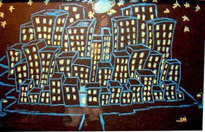 Blue House On The Left Print by Joseph Hawkins