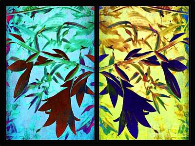 Blue And Yellow Floral Diptych Print by Maggie Vlazny