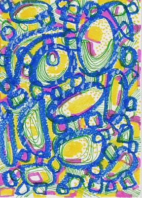 Blue And Yellow Print by Rosalina Bojadschijew