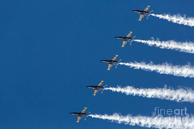 Blue Angels On Blue Print by John Daly