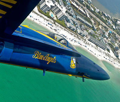 Blue Angels Over Pensacola Beach Print by Specialist 2nd Class Andrea Perez