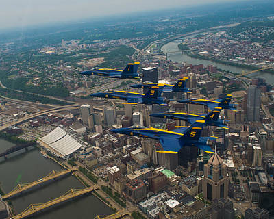 Blue Angels Over Pittsburg Print by Specialist 2nd Class Kathryn E Macdonald