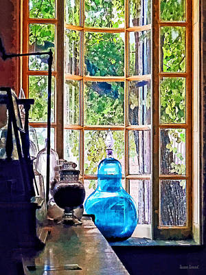 Blue Apothecary Bottle Print by Susan Savad