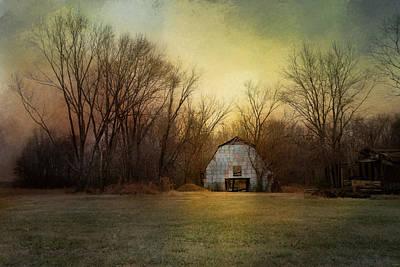 Blue Barn At Sunrise Print by Jai Johnson