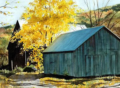 Blue Barn Print by Barbara Jewell