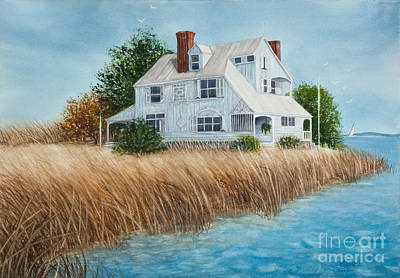 Blue Beach House Print by Michelle Wiarda