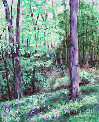 Forest Floor Painting - Blue Bells In Bloom by Janet Felts