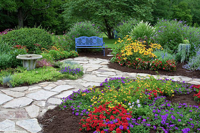Blue Begonia Photograph - Blue Bench, Birdbath And Stone Path by Panoramic Images