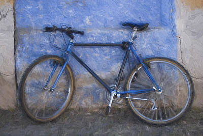 Blue Bike Blue Wall Painterly Effect Print by Carol Leigh