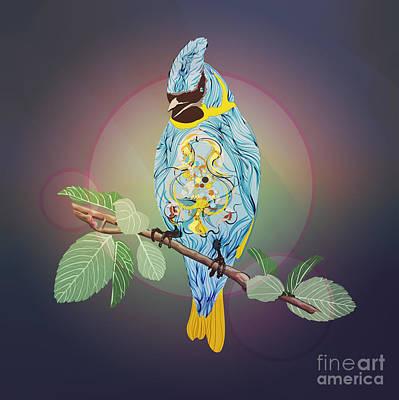 Cyanocitta Cristata Digital Art - Blue Bird by Disko Galerie