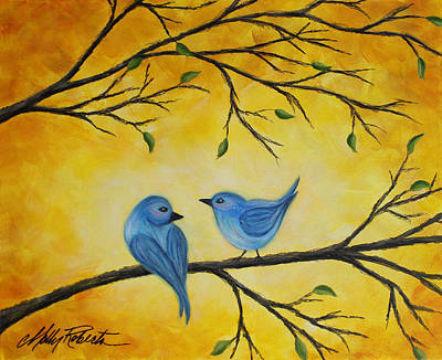 Yellow Beak Painting - Blue Birds by Molly Roberts