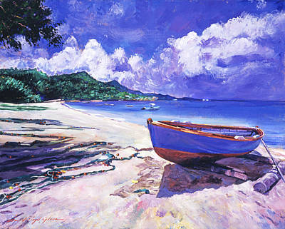 Blue Boat And Fishnets Print by David Lloyd Glover