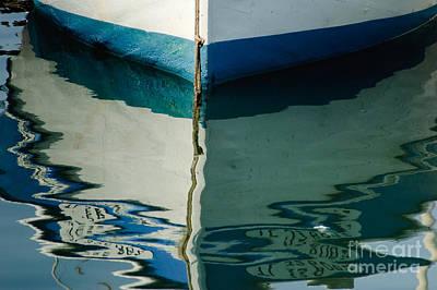 Reflections Photograph - Blue Boat Hull Reflection by Oscar Gutierrez
