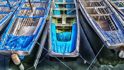 Gondola Photograph - Blue Boats by Stelios Kleanthous