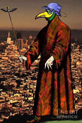 Victorian Death Digital Art - Blue Bonnet Plague Doctor Of San Francisco 20140306 by Wingsdomain Art and Photography