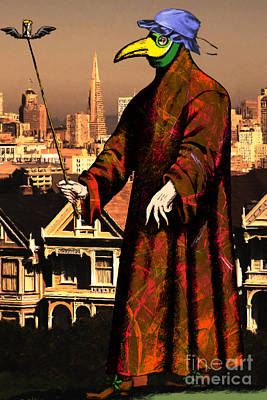 Victorian Death Digital Art - Blue Bonnet Plague Doctor Of San Francisco Alamo Square 20140306 by Wingsdomain Art and Photography