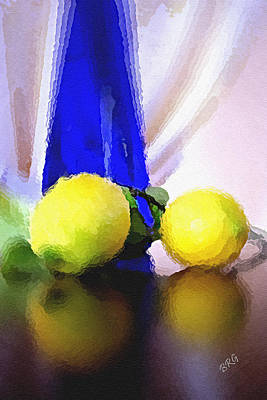 Glass Table Reflection Photograph - Blue Bottle And Lemons by Ben and Raisa Gertsberg