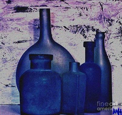 Wrap Digital Art - Blue Bottles by Marsha Heiken