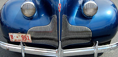 Classic Auto Photograph - blue Buick Grill by Mark Spearman