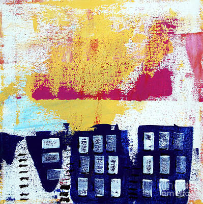 Funky Painting - Blue Buildings by Linda Woods