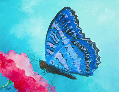 Blue Butterfly Painting - Blue Butterfly by Jan Matson