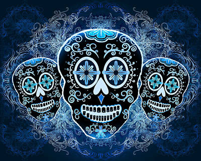 Calavera Drawing - Three Amigos by Tammy Wetzel