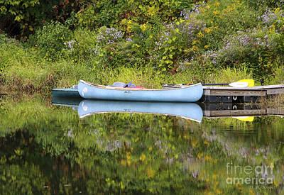 Blue Canoe Print by Deborah Benoit