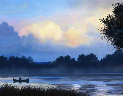 Canoe Digital Art - Blue Canoe by Robert Foster