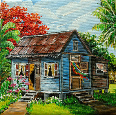 Blue Caribbean House Print by Karin  Dawn Kelshall- Best