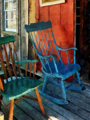 Rocking Chairs Photograph - Blue Chair Against Red Door by Susan Savad
