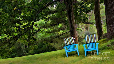 Blue Chairs On A Hillside Original by Harold Bonacquist
