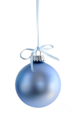 Blue Christmas Bauble Print by Elena Elisseeva