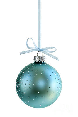 Blue Christmas Ornament Print by Elena Elisseeva