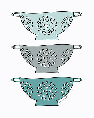 Blue Colander Print by Amy Cummings
