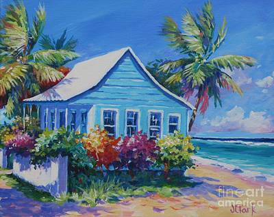 Reef Shark Painting - Blue Cottage On The Beach by John Clark