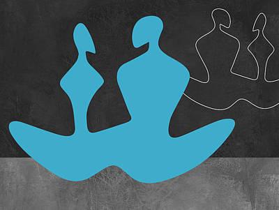 Couple Mixed Media - Blue Couple 2 by Naxart Studio