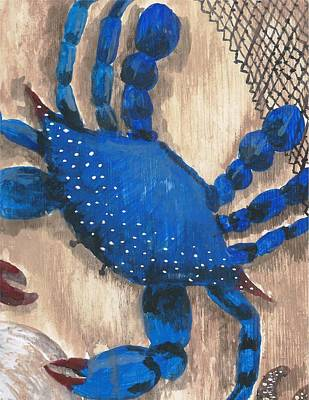 Painting - Blue Crab And Fishing Net by Stephany Elsworth
