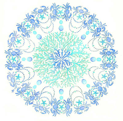 Coastal Painting - Blue Crab Mandala 5 by Stephanie Troxell