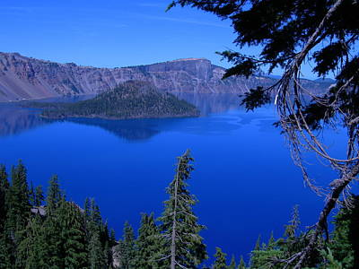 Blue Crater Lake Print by Roberta Hayes