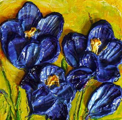 Blue Crocuses Print by Paris Wyatt Llanso
