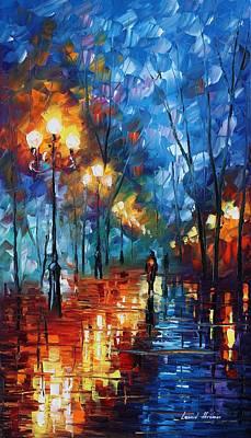 Blue Day - Palette Knife Oil Painting On Canvas By Leonid Afremov Print by Leonid Afremov