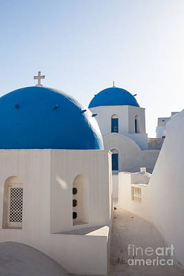 Greek Icon Photograph - Blue Domed Churches Of Oia - Santorini - Greece by Matteo Colombo