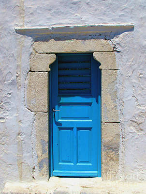 Greek Photograph - Blue Door On An Old Whitewashed Wall In Mykonos  by Cimorene Photography