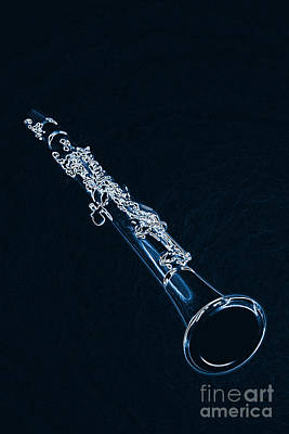 Wrap Digital Art - Blue Drawing Of A Clarinet Music Instrument 3011.06 by M K  Miller