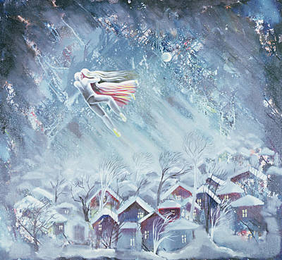 Snowy Night Photograph - Blue Dream, 1983 Oil On Canvas by Radi Nedelchev