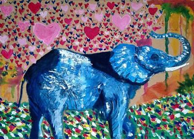 Blue Elephant Print by Abiodun Bewaji