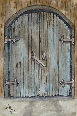 Blue Entrance Door Has Stories Print by Kelly Mills