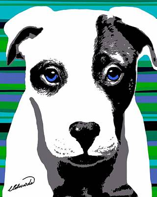 Pup Digital Art - Blue Eyed Bully by Cindy Edwards